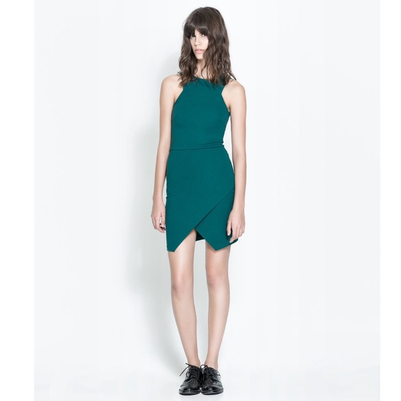 c456389e Zara TRF green crossover skirt dress. M_5a5651e346aa7cce4a00fcde